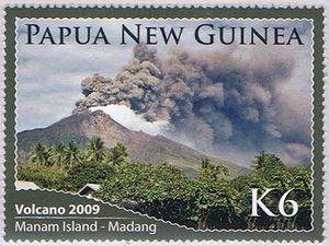 Bonus for lovers of volcano stamps - Manam / PNG K3 and K6 stamps - via Mountain stamp - one click to enlarge