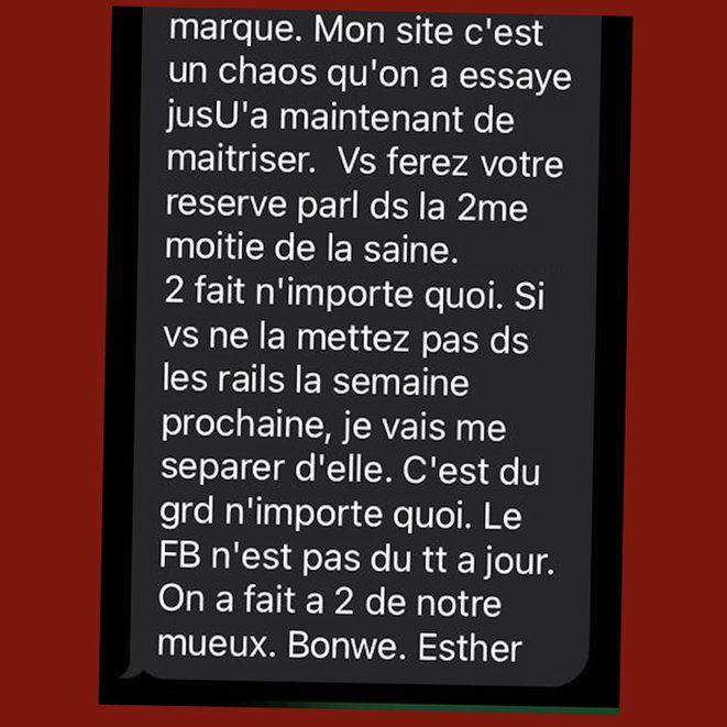 Extrait d'un sms envoyé par Esther Benbassa où elle menace de se séparer de l'un de ses collaborateurs. © Mediapart