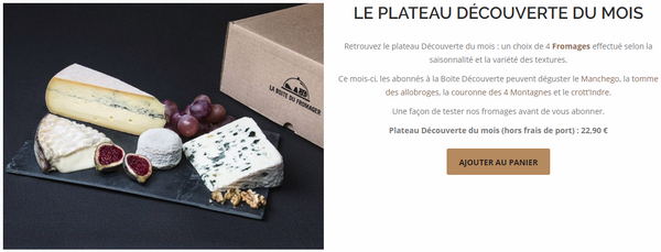 """captures d'écran du site """"La Boite du Fromager"""" et parcours d'achat - crédit images : La Boite du Fromager"""