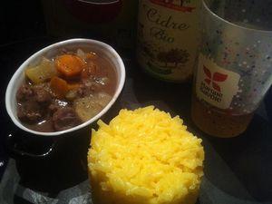 Joues de porc au cidre de Savoie et son riz Thaï safrané.