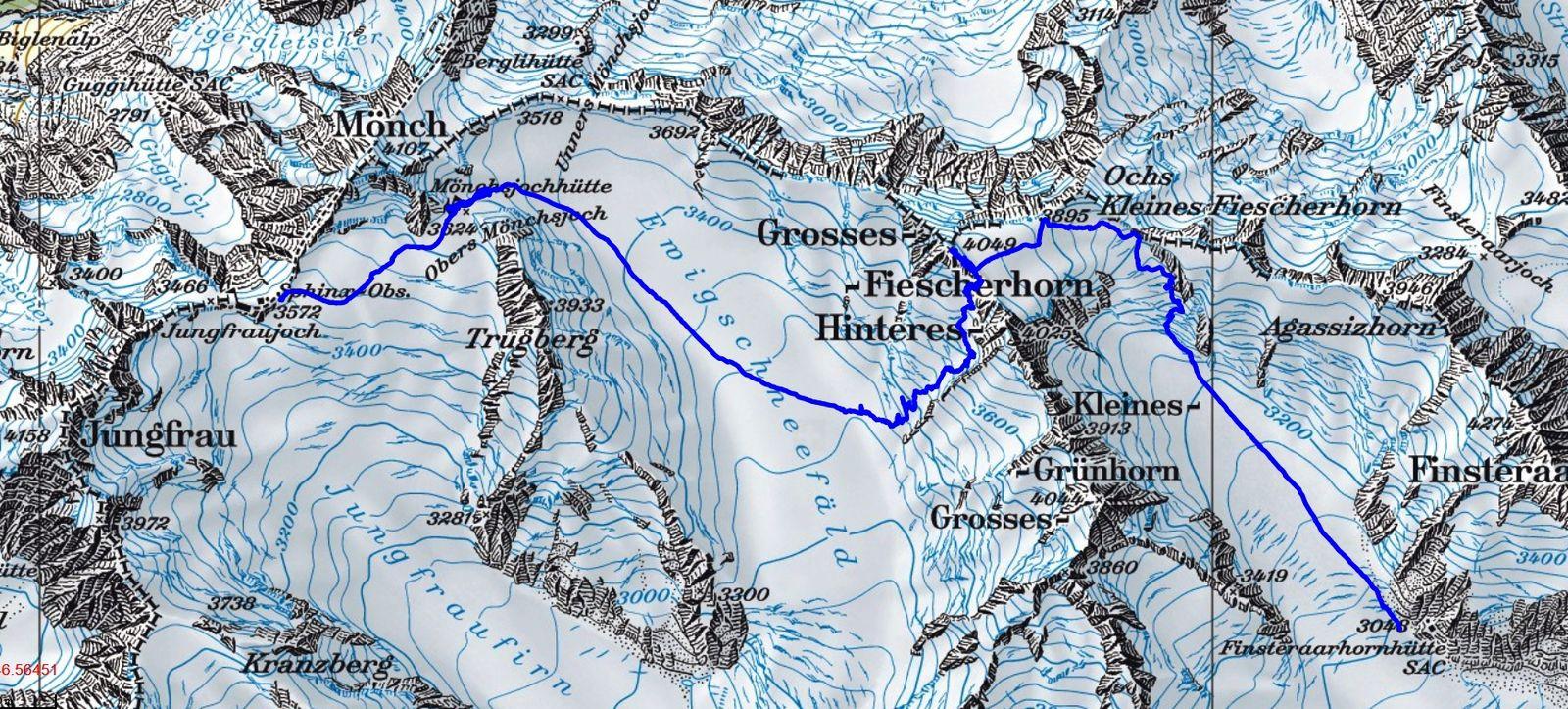 Topo Raid en Oberland J1 Carte : Du Jungfraujoch à la Finsteraarhornhütte par la Grosses Fiescherhorn