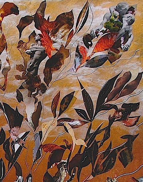 Peinture-collage sur bois (80 x 120)