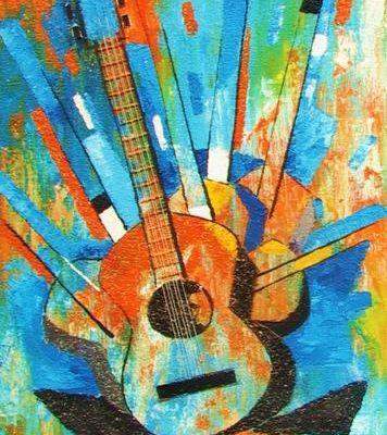 Peinture acrylique : Ma guitare.