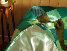 Plaid en laine tricoté main vintage