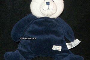 Doudou peluche ours Tiamo Collection,bleu blanc