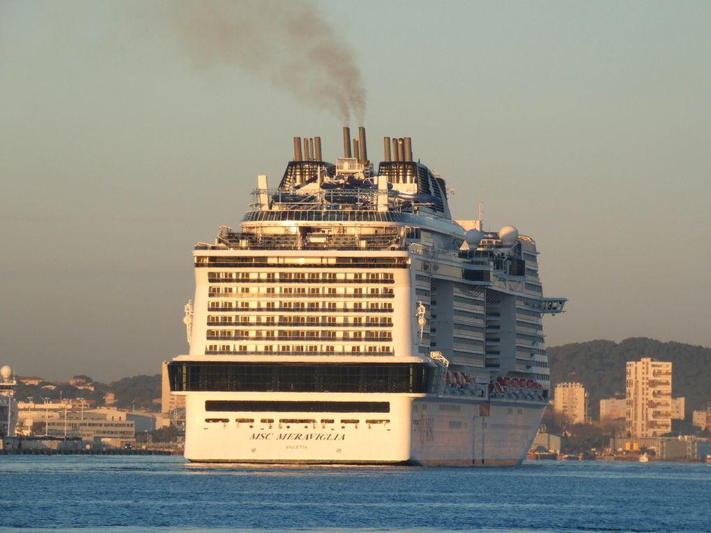 MSC MERAVIGLIA , arrivant en petite rade de Toulon et se dirigeant vers la Seyne sur Mer  le 25 janvier 2018