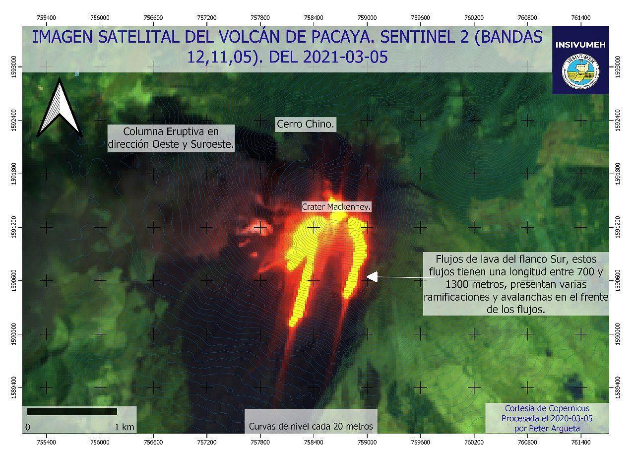 Pacaya - image Sentinel-2 bands 12,11,5 du 05.03.2021  - Doc. Insivumeh  - un clic pour agrandir