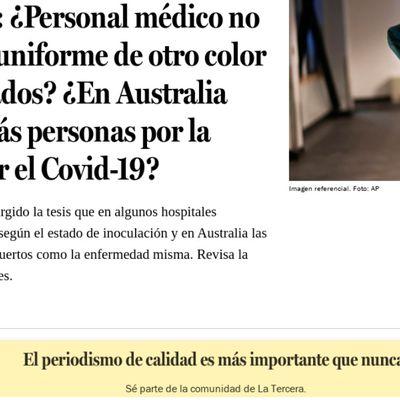 Fact Checking: ¿Personal médico no vacunado usa uniforme de otro color que los vacunados? ¿En Australia han muerto más personas por la vacuna que por el Covid-19?