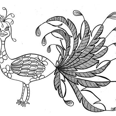 Coloriage. Défi dessin: oiseau magique