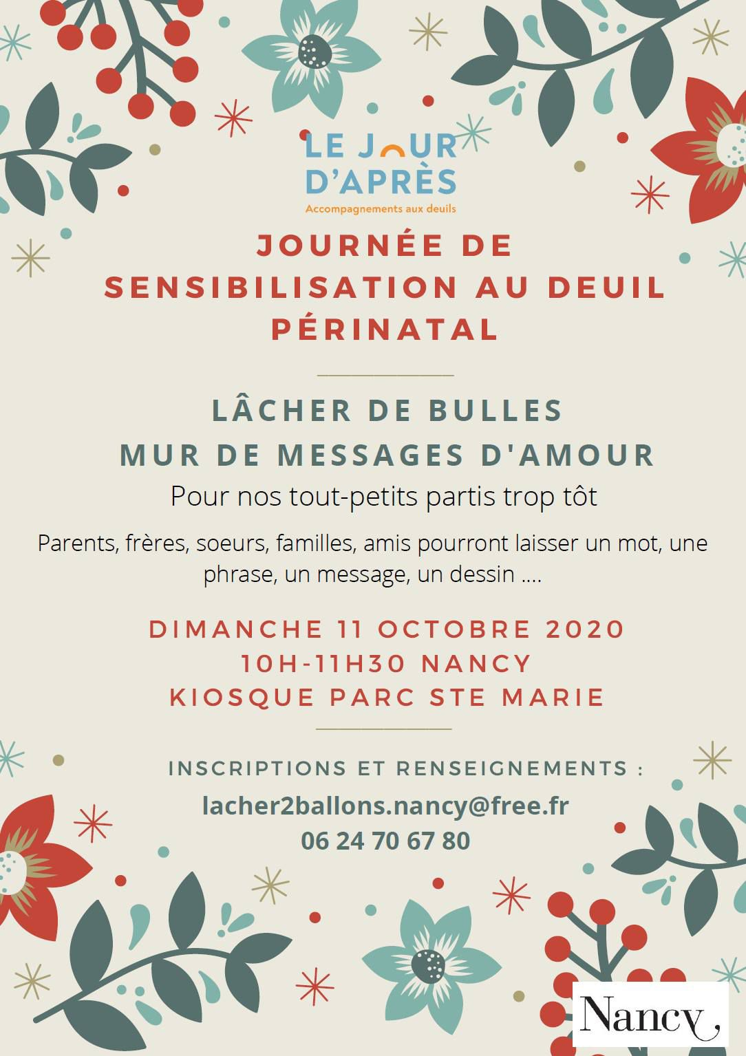 Nancy Journée Internationale de Sensibilisation au Deuil Périnatal 11 octobre 2020