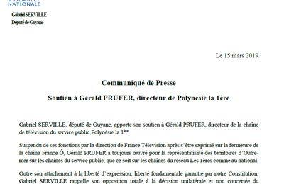 Polynésie la 1ère : Le député guyanais Gabriel SERVILLE apporte son soutien à Gérald PRUFER (communiqué de presse)