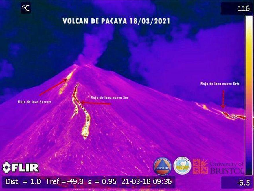 Pacaya - the 3 lava flows of 03.18.2021 - FLIR webcam 03.18.2021 / Insivumeh - Conred - UN. Bristol