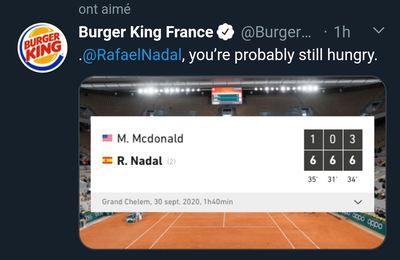 Buzz : le Tweet génial de Burger King pendant Roland Garros 2020
