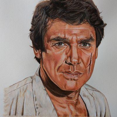 """Joeffrey de Peyrac (Robert Hossein) - """"Angélique Marquise des Anges""""-  Watercolor pencils on a3 """"Arches"""" watercolor paper"""