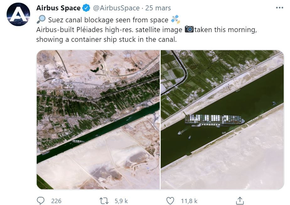 Ever Given - Satellite imagery - Pleiades - Canal de Suez - Blockage - Airbus Defence and Space - Tweet - Buzz - @AirbusSpace