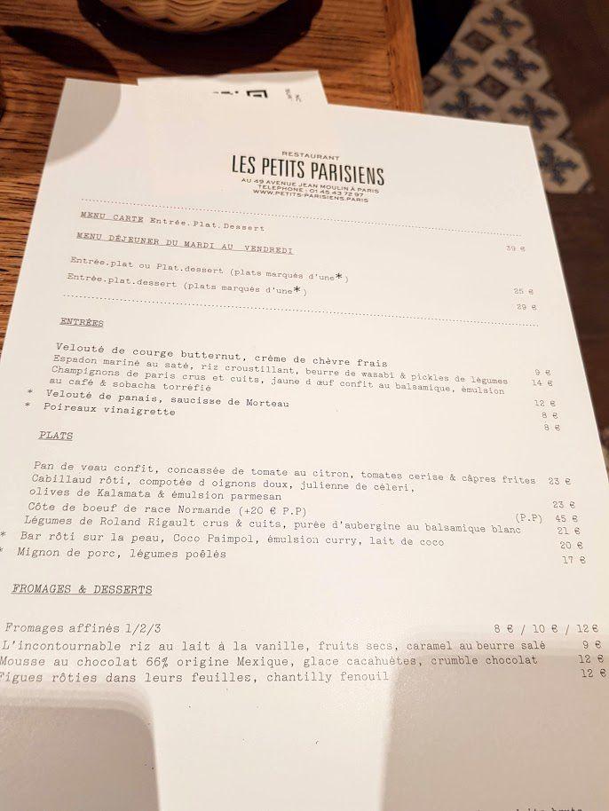Menu Les Petits Parisiens