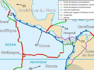 Tectonique régionale - Plongée de la plaque Cocos en 2 temps / © Perez-Campos et al., GRL 2008 - un clic pour agrandir