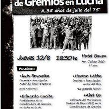 CHARLA en Bs As Las Coordinadoras de Gremios en Lucha A 35 años de julio del '75