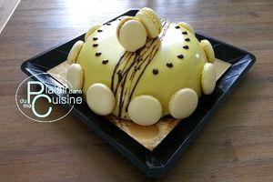 Dôme Chocolat - Caramel beurre salé, miroir jaune, macarons