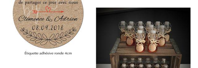 Les étiquettes adhésives rondes pour les cadeaux invités du mariage de Clémence et Adrien ... imprimé kraft