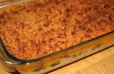 Gratin de boudin noir (chutney d'oignon, potimarron & pain d'épice)
