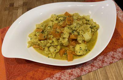 Curry de patate douce et chou-fleur