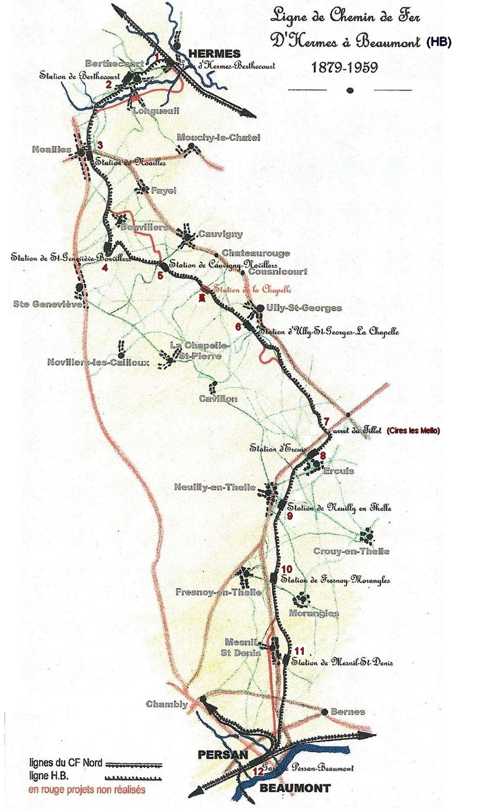 L'ancienne ligne de  Chemin de fer d' Hermes à Beaumont (Ou le Tacot de Neuilly en Thelle) Oise