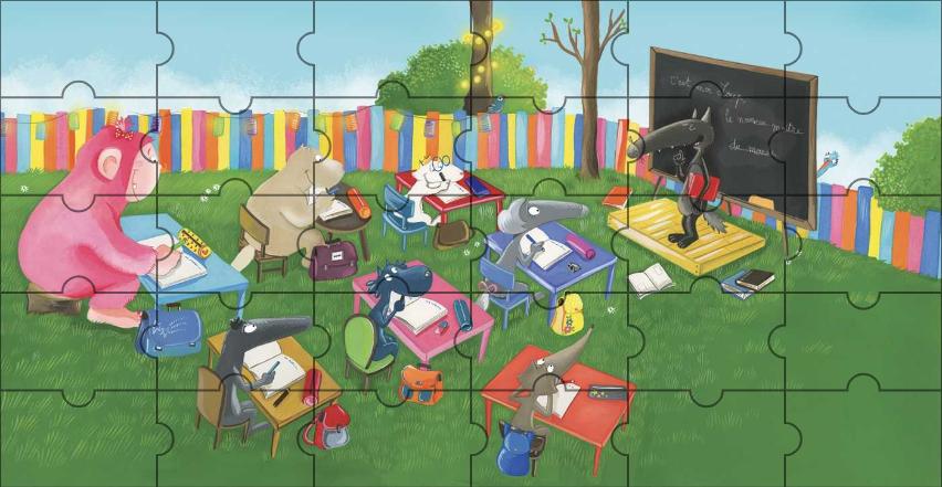 Puzzle de La Classe de Loup (Annexe : Le loup qui voulait aller à l'école) [Activité][Loup][Maternelle]