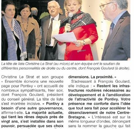 "Lu Ouest France ""Christine Le Strat inaugure son local de campagne"""