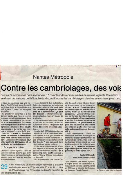 Article Ouest-France du 30/09/14