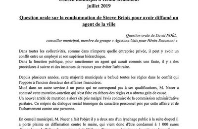 Le conseil municipal d'Hénin-Beaumont interrompu à la suite de ma question orale sur les méthodes de Steeve Briois !