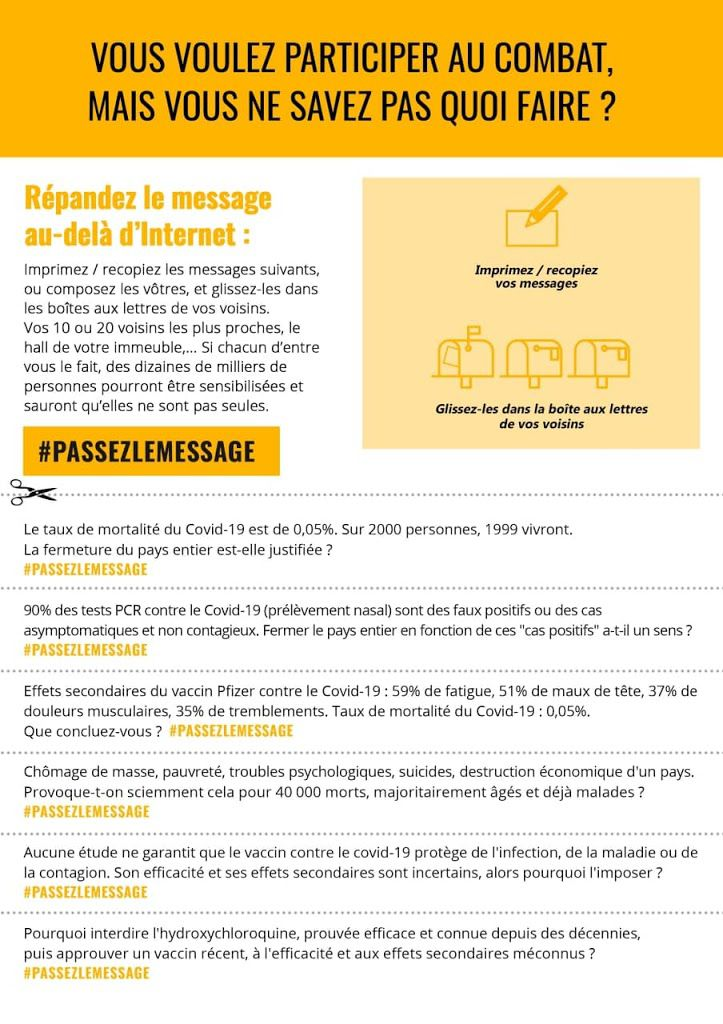 …Vous nous demandiez un moyen simple de participer au combat, en voici un : faites sortir l'information d'Internet et répandez-la chez vos voisins via leur boîte aux lettres. Simple, rapide et efficace, surtout si vous êtes nombreux à le faire. #passezlemessage