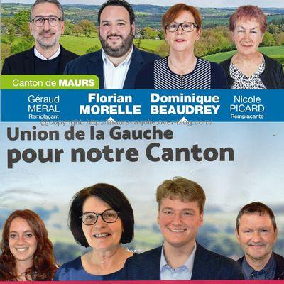 Candidats au second tour des élections départementales du canton de Maurs