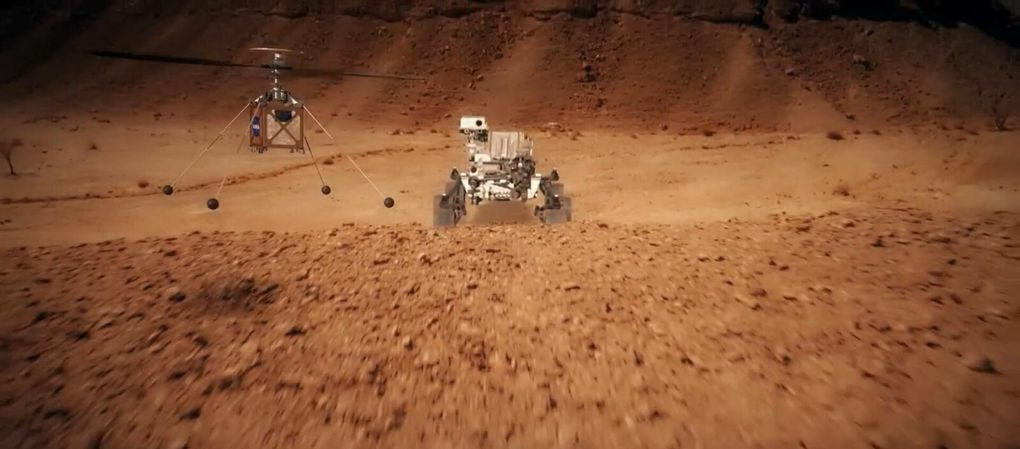 "Rover ""Perseverance"" et hélicoptère ""Ingenuity"" (source NASA)."