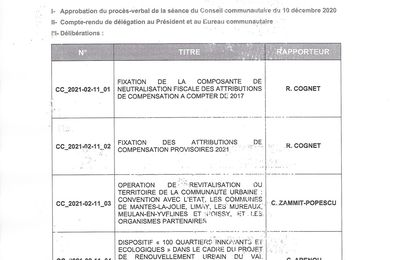 Conseil communautaire (GPSEO) demain.