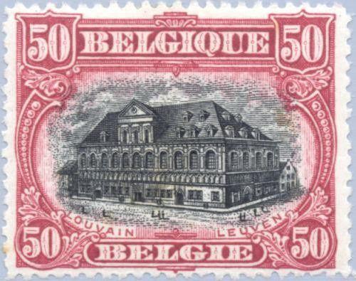 Fig.13: Martyre de la Belgique. Composée de 4 visuels. Les 3 premiers ont été émis dentelés 14 et dentelés 15. La série comporte donc 7 valeurs.