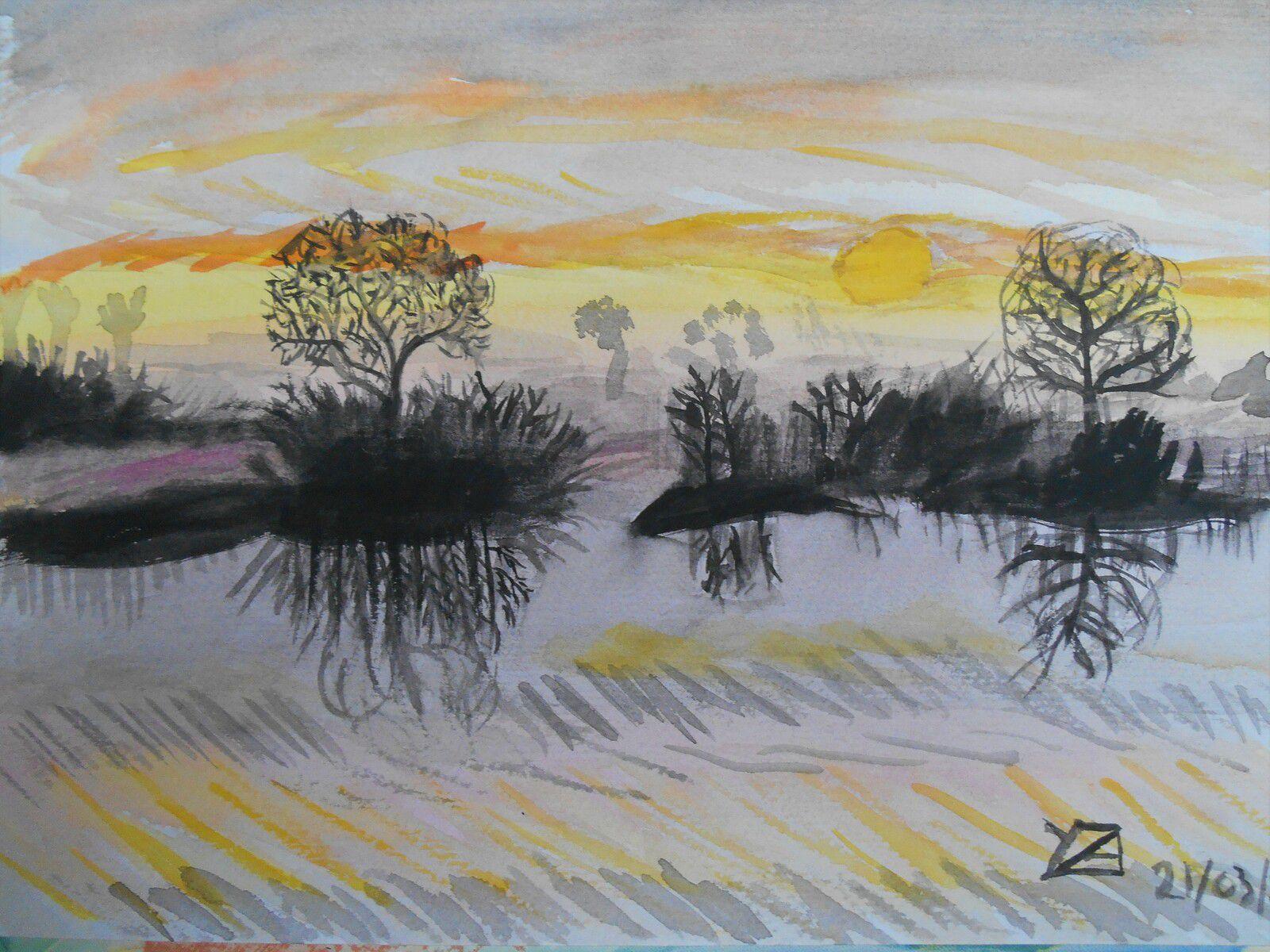crépusculesue le fleuve (aquarelle)