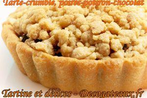 Tarte-crumble, poires-potiron-chocolat.