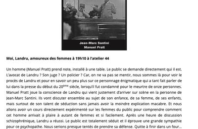 Moi, Landru, Amoureux des Femmes - Avignon Off 2019