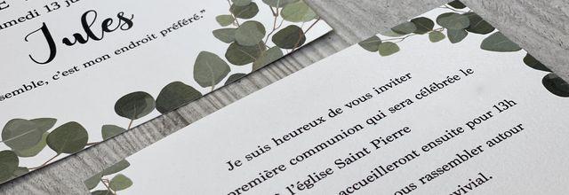 Le faire part de 1ère communion de Jules thème eucalyptus ...