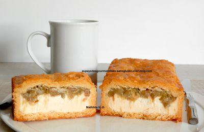 Tourte à la rhubarbe et au flan cheesecake