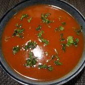 Recette du velouté de tomates au curry - Recettes de Papounet
