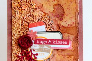 Carte Mixed Media_Hugs et Kisses