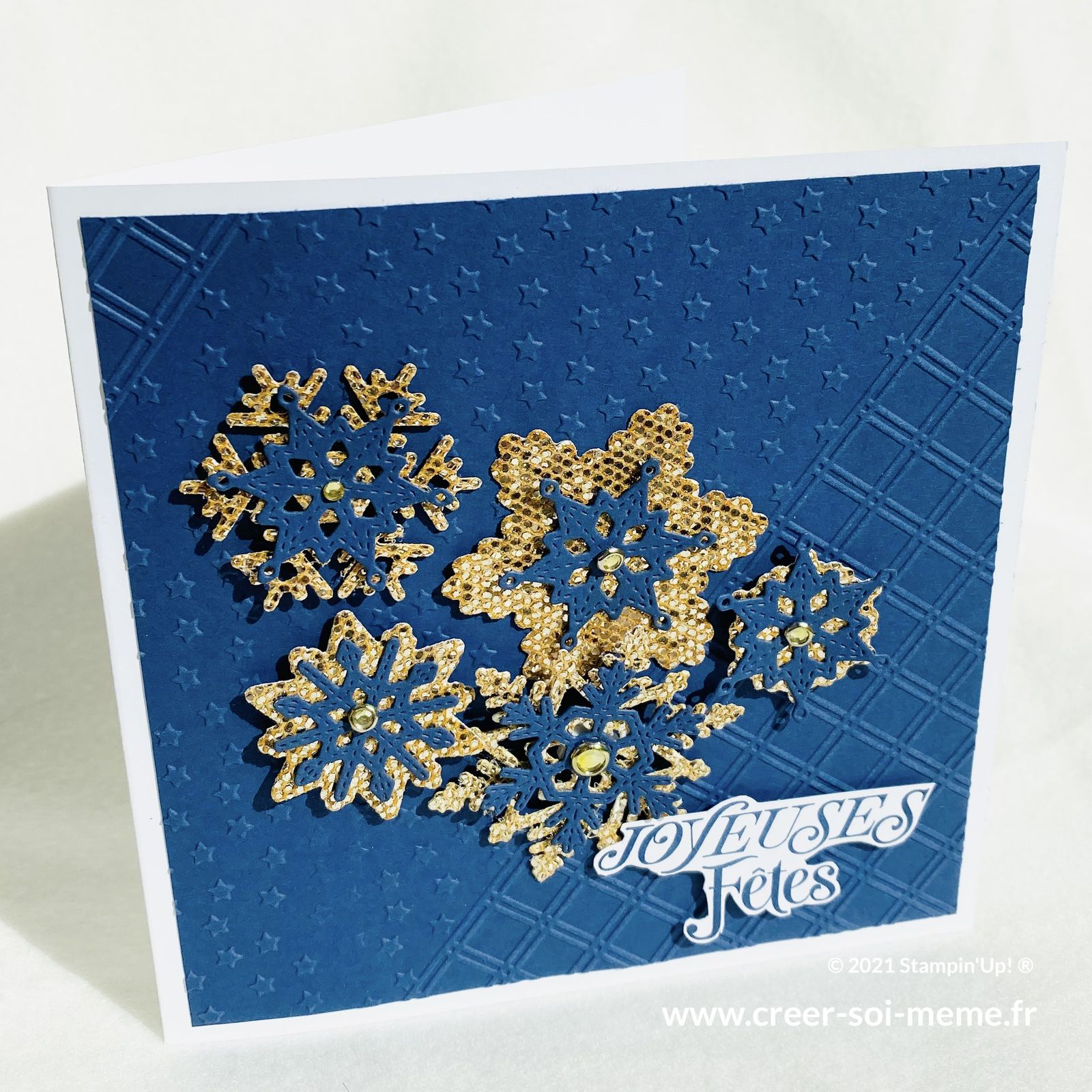carte bleu noel flocons stampin up poincons surpiques neige joyeux loisirs créatifs scrap carterie france