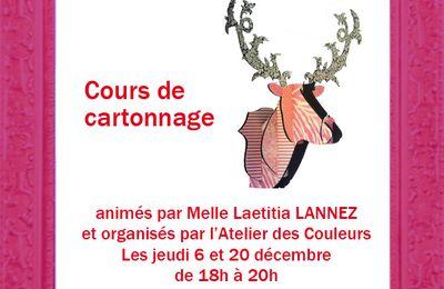 Cours de Cartonnage - jeudi 6 décembre