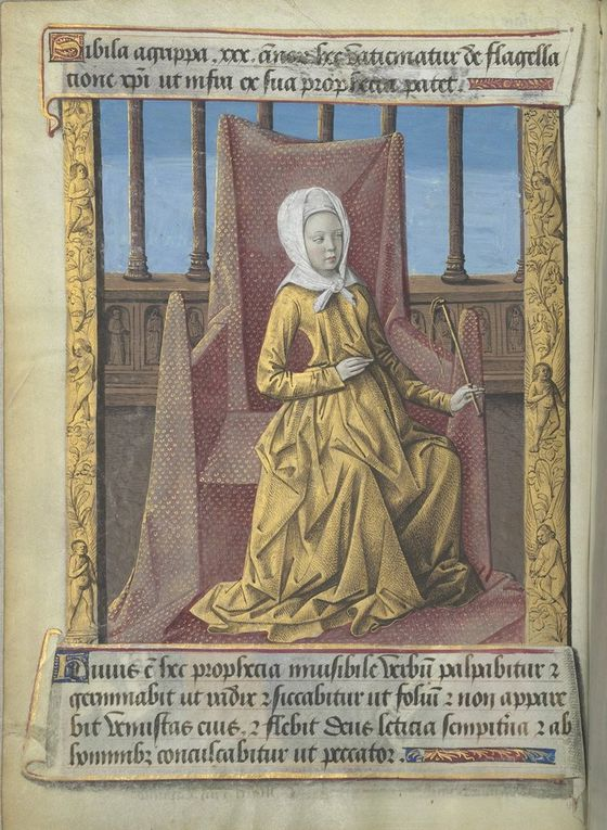 La Sibylle Agrippa selon Baccio  Baldini (1470-1480), Filippo Baldieri (1481),  les Heures de Louis de Laval (avec la page de typologie en regard), et Léonard Limosin vers 1535.