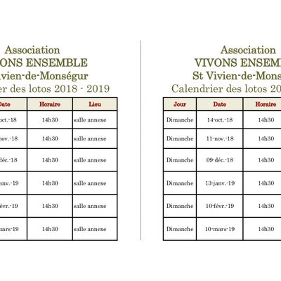 Calendrier des lotos de l'association Vivons Ensemble à Saint-Vivien-de-Monségur