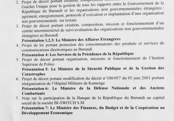 Conseil des Ministres s'est réuni ce matin au Palais présidentiel (ordre du jour)