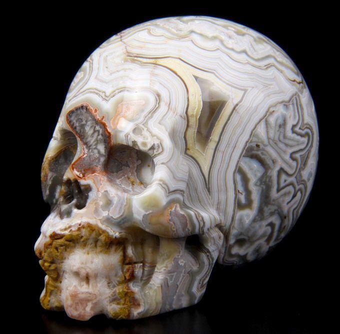 Crâne Geode Amethyst Agate Calcite Fluorite Citrine Jaspe Chrysocole Skull Carving