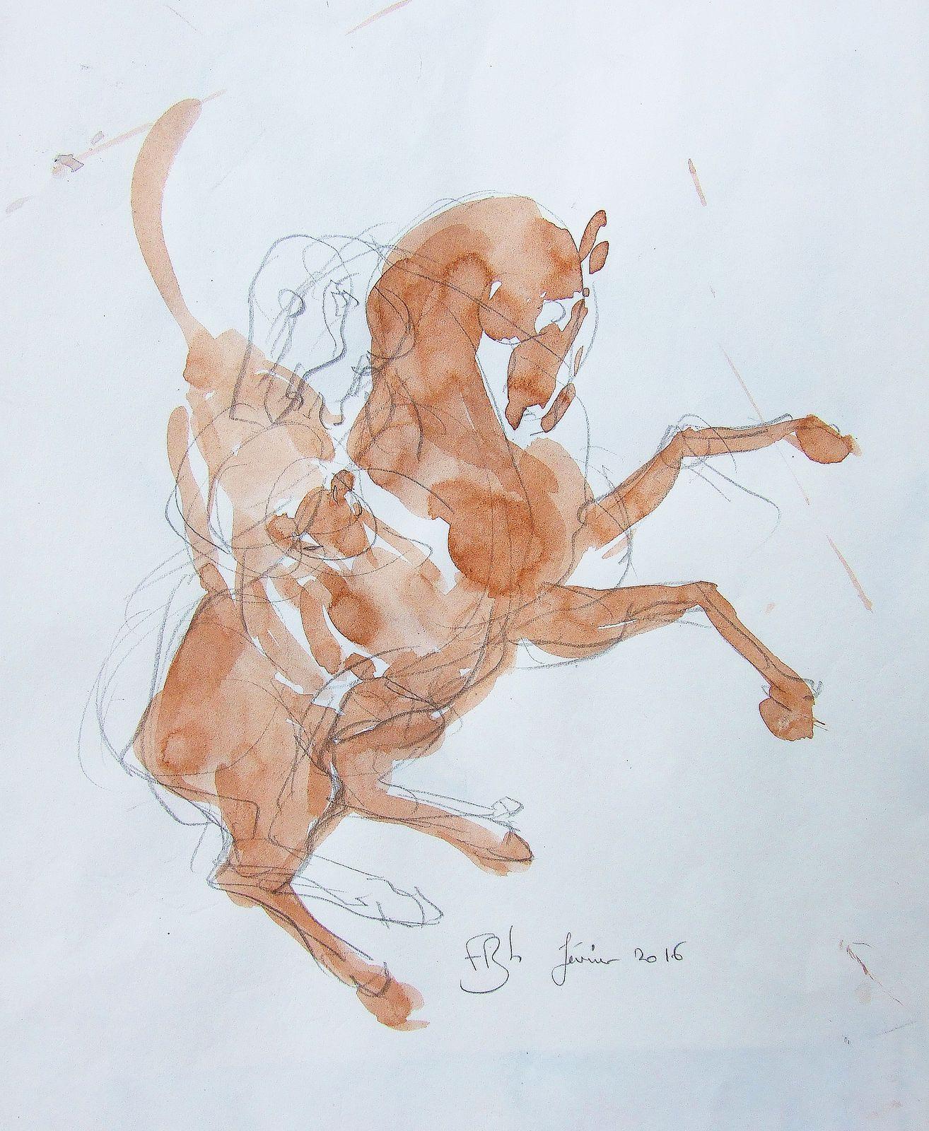 WESTERN ART, Un cow-boy et son cheval, man and his horse, cowboy riding his horse. Gouache, aquarelle, lavis et crayon. 50x65 et 21x30 BHAVSAR